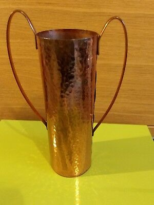 A Handmade Hammered Copper Vase cup With Handles