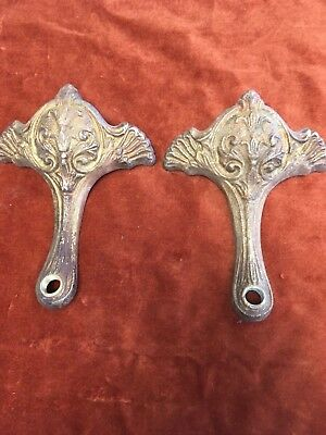 2 Antique Vintage Large Cast Brass Ornate Chandelier Light Fixture Arm