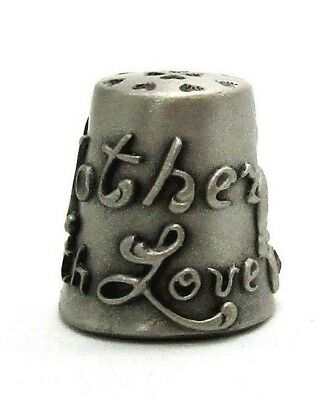 Hi-Relief Mother With Love Pewter Thimble With Multi Color Rhinestones