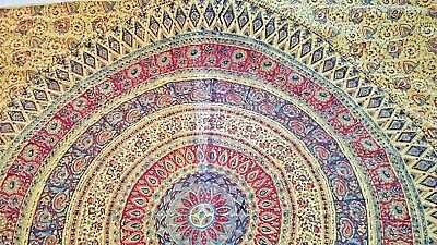 "Curry Mandala center cotton print fabric rectangle tablecloth 65"" x 90"" vtg"