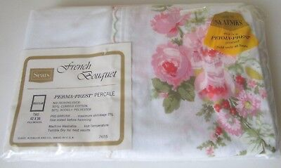 Sears French Bouquet Standard Pillowcases Pink Roses Flowers Perma Prest- NOS!