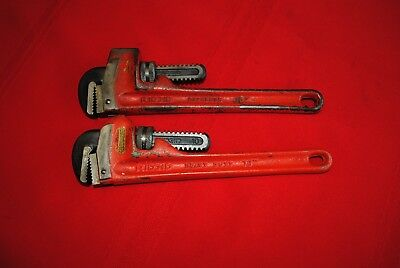 """Two Vintage Heavy Duty 10"""" Pipe Wrenches,  Ridgid"""