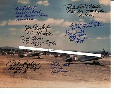 Flying Tigers, Autographed by eight, AVG, P40 Kunming China,*