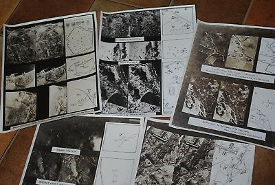 5 WWII Aerial Photos of possible targets Kiska submarine base and ammo dumps