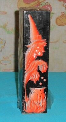 vintage Halloween GURLEY CANDLE BLACK PILLAR with WITCH OWL TREE new/sealed