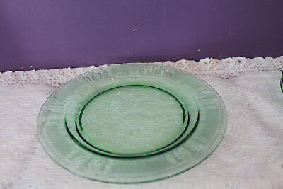 "Green Glass Etched 9-3/8"" Plate - Very Ornate"