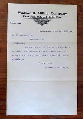 1910 Wadsworth Milling Co. of Wadsworth, Ohio Letterhead, Business Letter