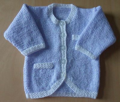 NEW Hand Knitted Baby Jacket / Cardigan - Lilac & White - 3-6 months - Chest 18""