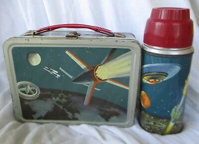 Vintage OUTER SPACE ROCKET SPACESHIP 1950s American Lunchbox with THERMOS