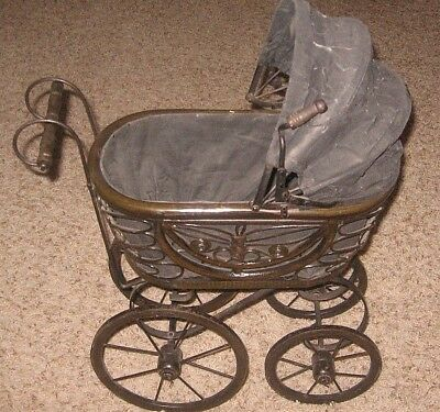 """Antique~Wood & Metal Doll Carriage~~17""""l X 10""""w X 24""""h~~Very Good Condition"""