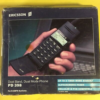 Ericsson Cell Phone With Box Vintage Retro Brick 80s 90s Pd 398 Hotline Flip Ch