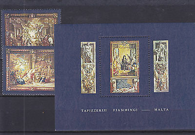 1980 Malta MNH - Tapestries 4th set and M/S
