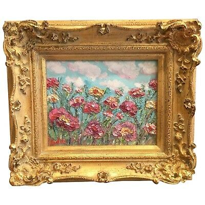 KADLIC Original Oil Painting Pinks Wildflowers Floral Gardens Gilt Frame 8x10""