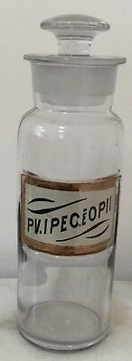 Antique Apothecary Opium OPII Glass Medicine Bottle ** Glass Label **