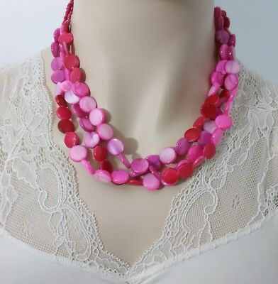 """Pink Dyed Mother Of Pearl Shell Disc Beaded Necklace 17.5-20.5"""" D3-15"""