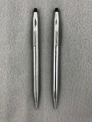 Lot of 2 Cross Century Steel Chrome Grooved Vintage Mechanical Pencil USA