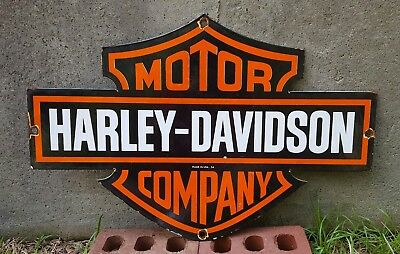 "24""x16""  Old 1954 Double Sided Harley - Davidson Motor Company Porcelain Sign"
