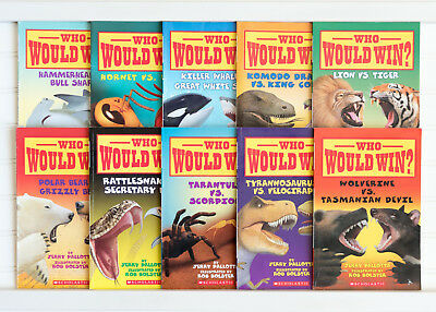 Lot of 10 WHO WOULD WIN? Matched Set Early Reader Scholastic Books for Ages 6-8