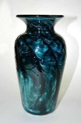 Studio Art Glass VASE Signed Connie Christopher TEAL Blue Green 2003