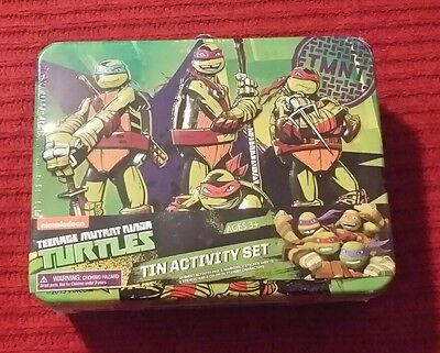 """NEW"" Teenage Mutant Ninja Turtles Activity Tin Lunch Box Stickers, Markers More"