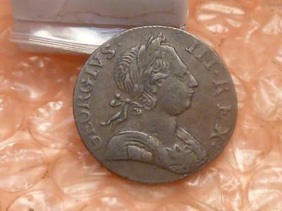 1775 Revolutionary War Era George III Colonial Halfpenny Clear Date Detail #AA