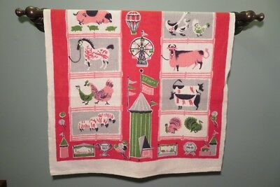 Vintage kitchen towels STARTEX cotton linen county fair farm animals two