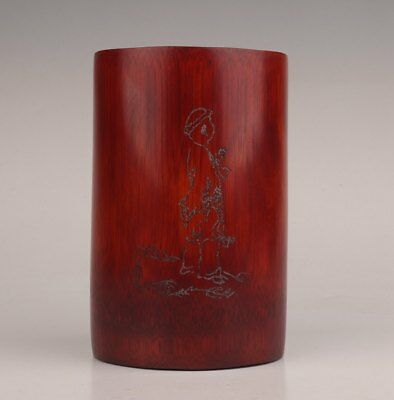 Chinese Bamboo Hand-Carved Poems Ancient Poets Adorn Desk Tool Brush Pot