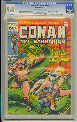 Conan The Barbarian #7 Cgc 9.4 Ow/w 1St Thoth Amon Bws Marvel Comics 1971