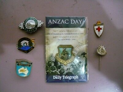6 Assorted Badges - good condition - ANZAC DAY, Red Cross, Bowling, Racing etc