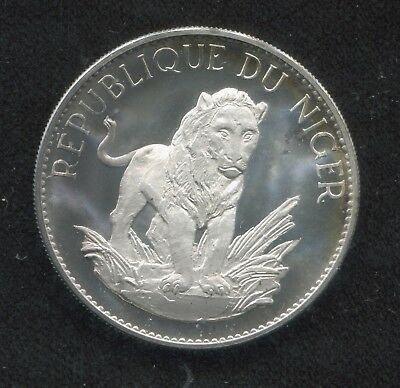 1968 Niger 10 Francs Proof Lion Silver Coin KM# 8.2!