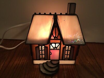1993 Bill Job Vitreville Tiffany Style Lighted Stained Glass House Night Light