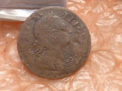 1771 Revolutionary War Era George III Colonial Halfpenny Mis-Struck  #4A