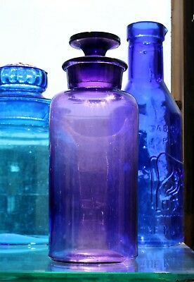 """Antique P & D Co. Purple Glass Apothecary Jar 8.5"""" Tall Mint Cond"""