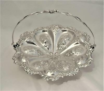 Victorian Embossed Repousse Silver Plate Cake Stand Centerpiece Brides Basket