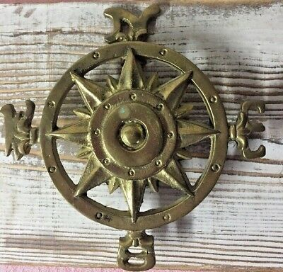Vintage Brass Compass Door Knocker