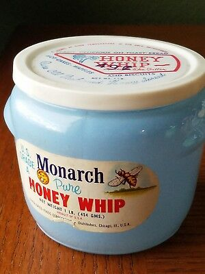 Vintage 1950s Monarch Honey Whip Glass Jar Container w/ Original Label & Lid