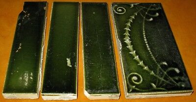 Antique Lot Of 4 Victorian Fireplace Surround Border Tile From Chicago Mansions