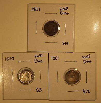 Lot of (3) Mixed Date 1837-1861 Seated Liberty & Bust Half Dime Silver Coins