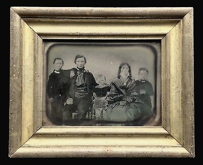 Very Rare Full Plate Ambrotype - Family Of Five - In Beautiful Lemon Gold Frame