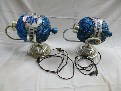 Pair of Vintage Collectible Pabst Blue Ribbon Rotating Wall Advertising Sconce