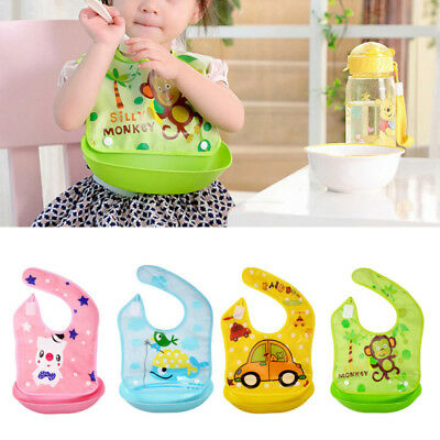Waterproof Silicone Baby Bib Washable Roll Up Crumb Catcher Feeding Eating New t