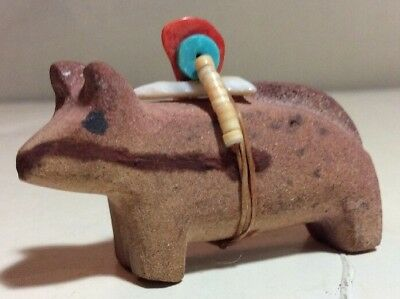 Vintage  Zuni Hand Carved STONE DOUBLE ANIMAL  UNSIGNED