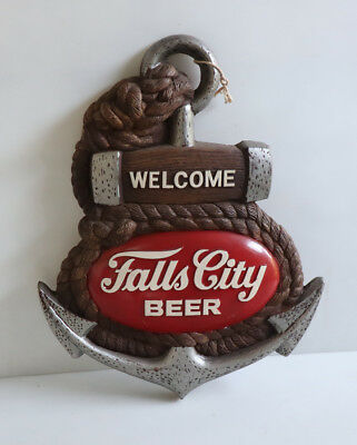 Vintage FALLS CITY BEER SHIPS ANCHOR Bar Display Sign  Louisville