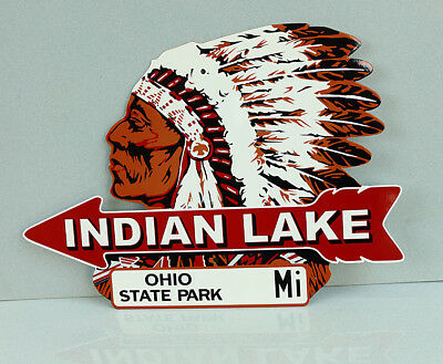 INDIAN LAKE With ARROW Road Street  Diecut Sign   Ohio State Park   modern retro