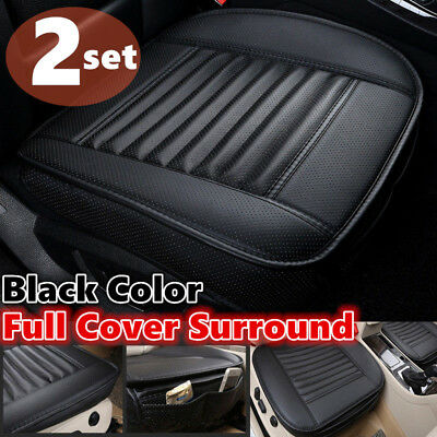 2x Black Car Full Surround Front Seat Cover Breathable Car Seat Cushion Pad Mat