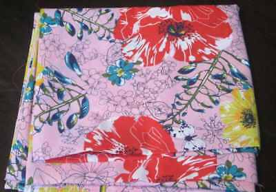 Vintage, Retro Dress fabric, Floral with red poppies, 2 metres , hand printed.