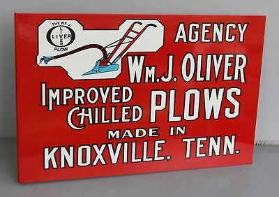Wm. J. OLIVER CHILLED PLOWS Flange Sign  Farm Feed Tractor  Modern Retro
