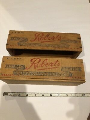 2 Antique Vtg Wood Cheese Boxes. Roberts Dairy OMaha-Lincoln-Sioux City