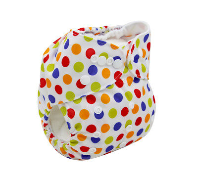 Modern Cloth Reusable Washable Baby Nappy Diaper & Insert, Colourful White Spots