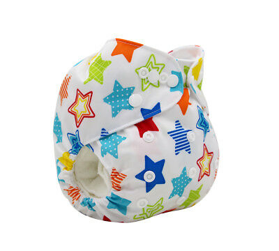 Modern Cloth Reusable Washable Baby Nappy Diaper & Insert, Colorful Sporty Stars